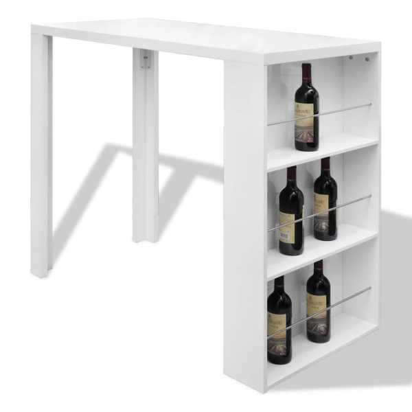 Masă de bar din MDF, cu suport pentru sticle de vin, alb lucios