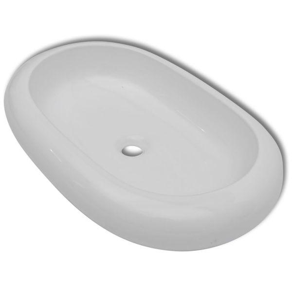 Chiuvetă ovală pentru baie din ceramică, Alb