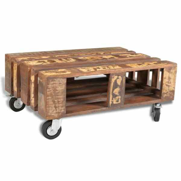 vidaXL Măsuță de cafea cu 4 roți, lemn reciclat