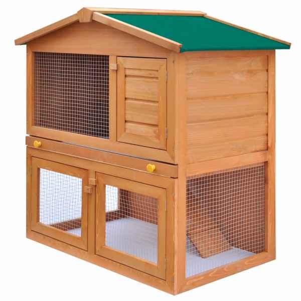 vidaXL Cușcă de exterior iepuri cușcă adăpost animale mici 3 uși lemn