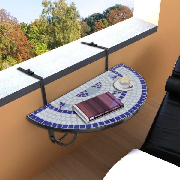vidaXL Masă de balcon suspendată, albastru și alb, mozaic