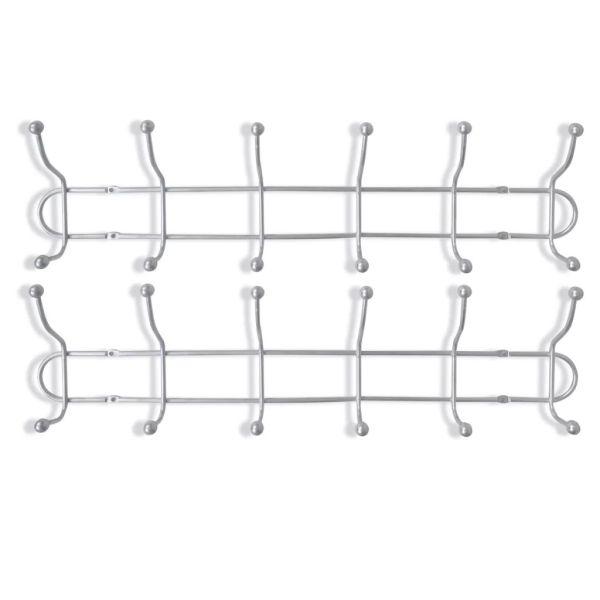 Cuier de perete din oțel cu 12 cârlige, 2 buc.