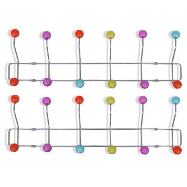 Cuier de perete din oțel cu 12 cârlige, 2 buc., multicolor