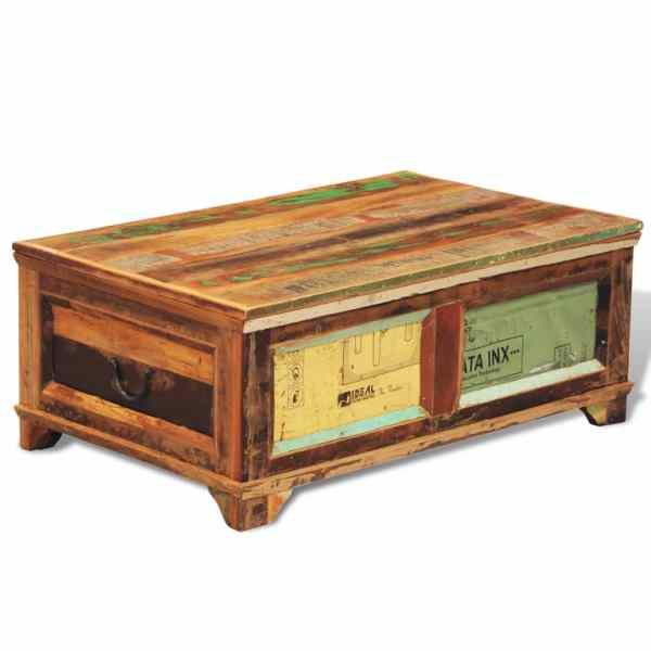 vidaXL Măsuță de cafea cu spațiu depozitare, vintage, lemn reciclat
