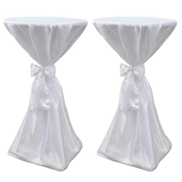 Set 2 fețe de masă pentru evenimente 70 cm cu panglică, Alb