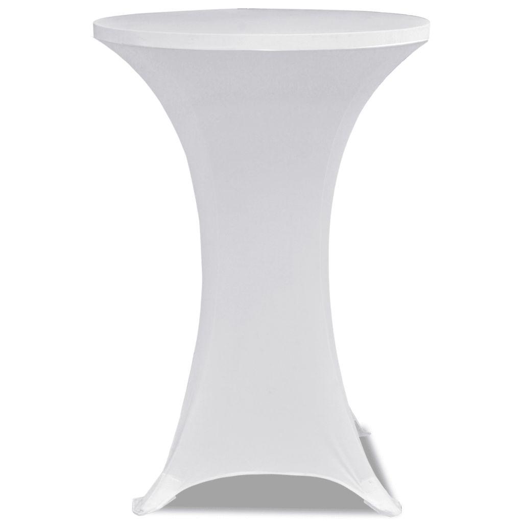 Faţă de masă pentru mese înalte Ø 70 cm Alb Elasticizată 2 buc