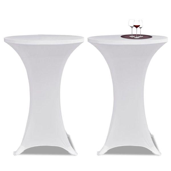 Faţă de masă pentru mese înalte Ø 80 cm Alb Elasticizată 2 buc