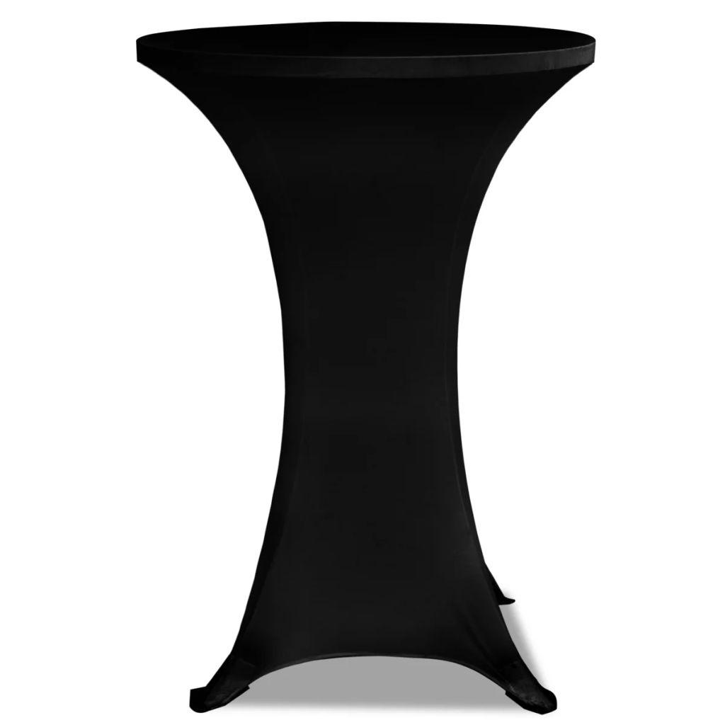 Faţă de masă pentru mese înalte Ø 60 cm Negru Elasticizată 2 buc