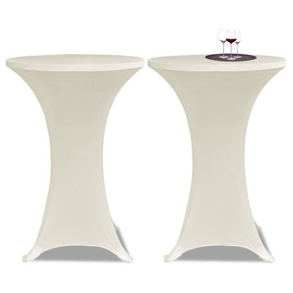 Faţă de masă pentru mese înalte Ø 60 cm Crem Elasticizată 2 buc