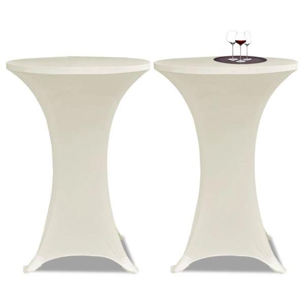 Faţă de masă pentru mese înalte Ø 80 cm Crem Elasticizată 2 buc