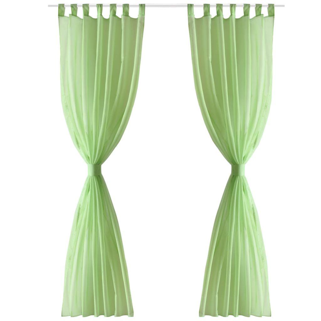 Perdea transparentă Culoare Măr verde 140 x 225 cm 2 buc