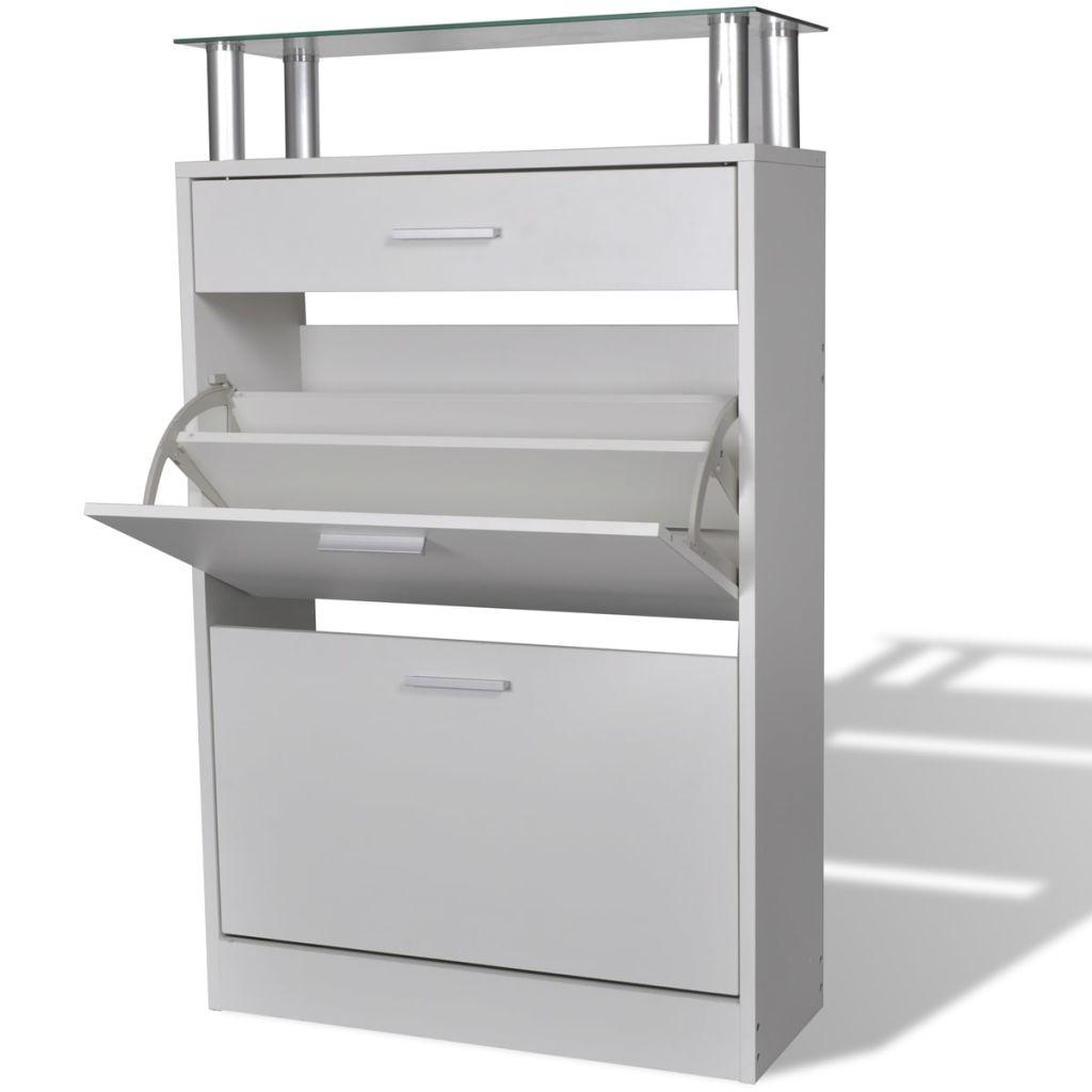 vidaXL Pantofar cu un sertar și un raft superior din sticlă, lemn, alb