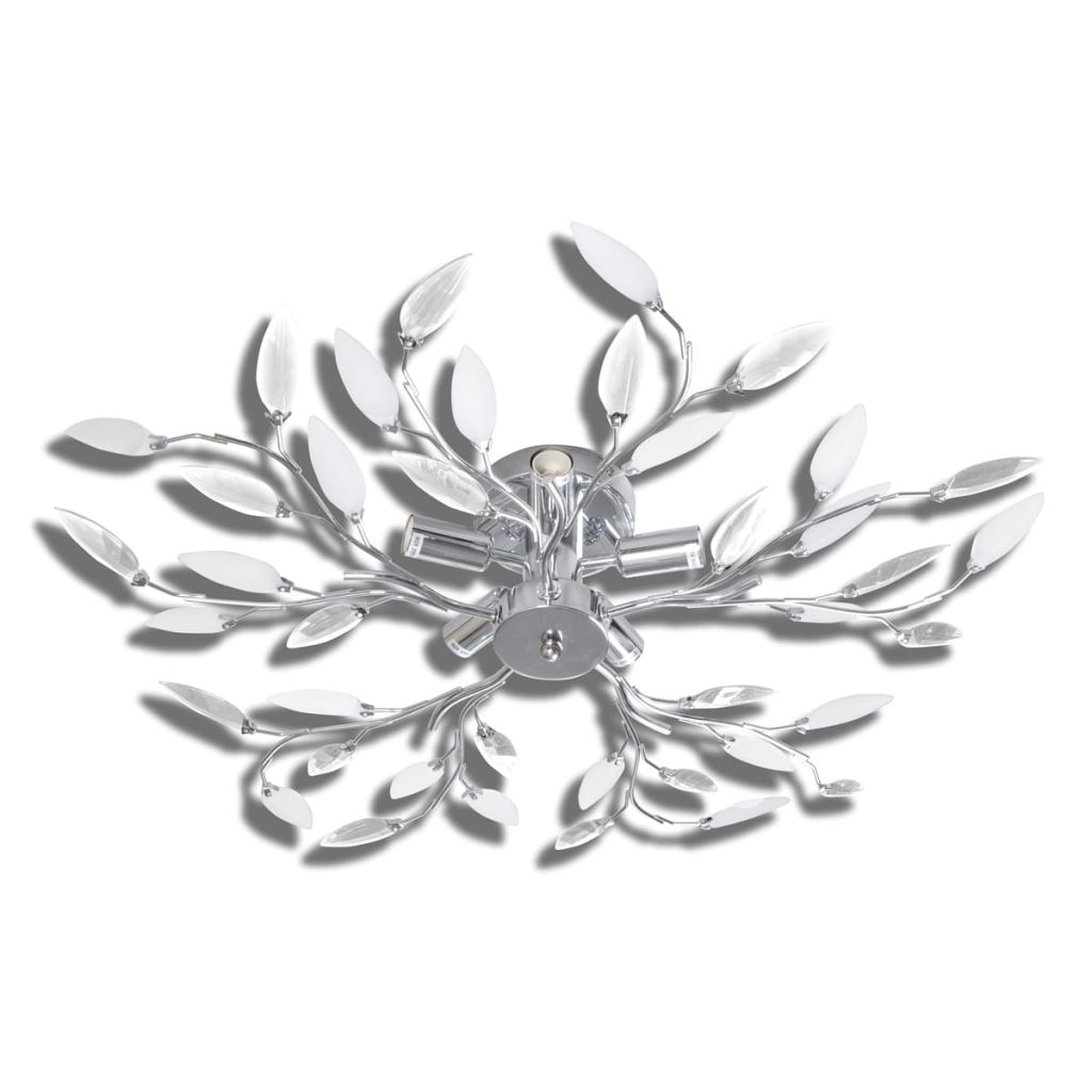 Lustră cristale acrilice formă frunze, transparent & alb, 5 becuri E14