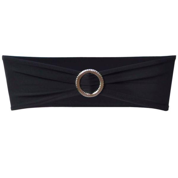 Fundă elastică decorativă scaun, cataramă diamante, negru, 25 buc.
