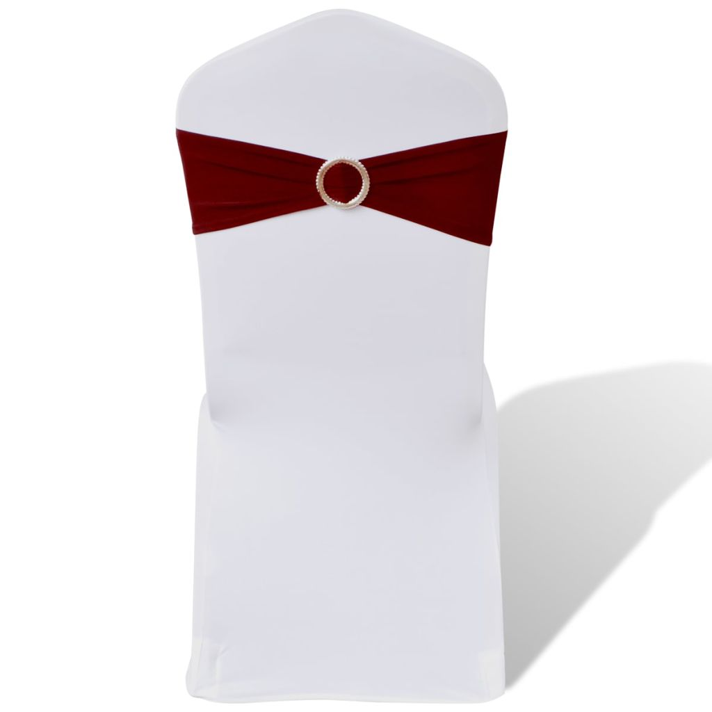 Funde elastice decorative scaun cu cataramă de diamant, 25 buc, bordo