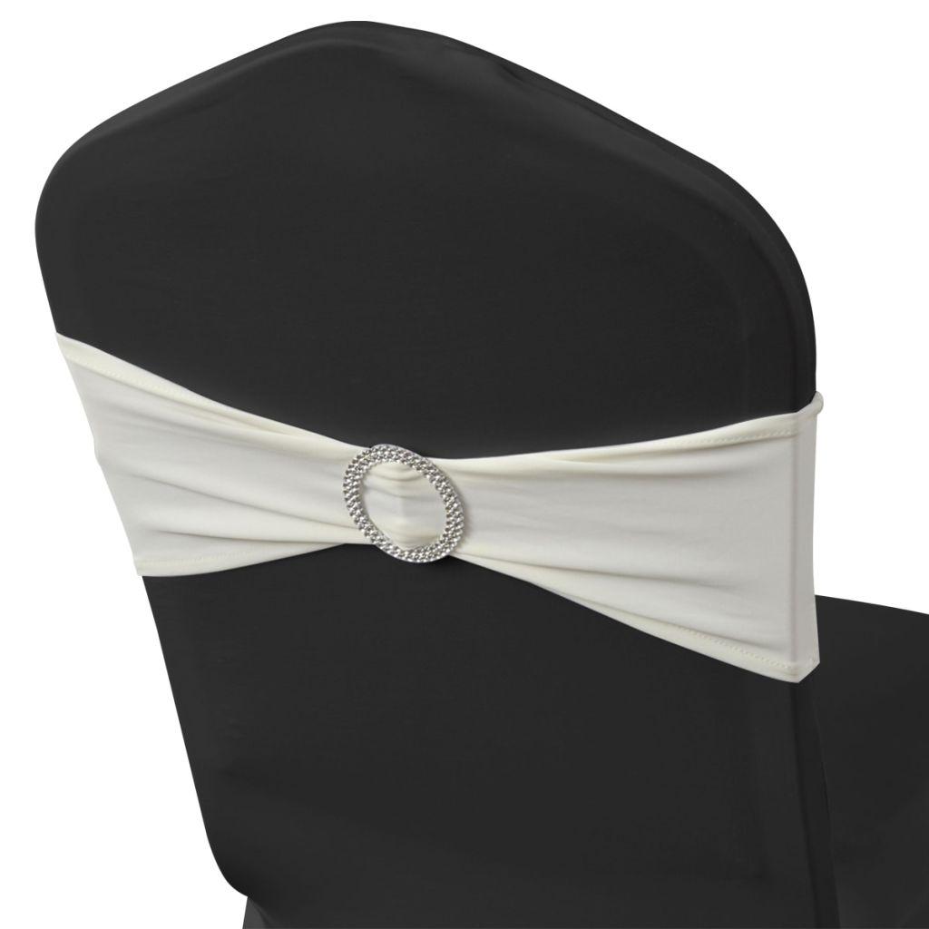 Fundă elastică decorativă scaun, cataramă diamante, crem, 25 buc.