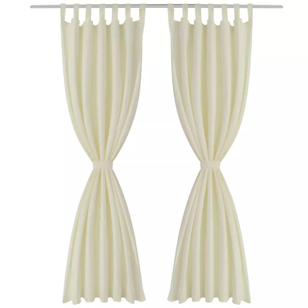 Draperii micro-satin cu bride, 140 x 175 cm, crem, 2 buc.