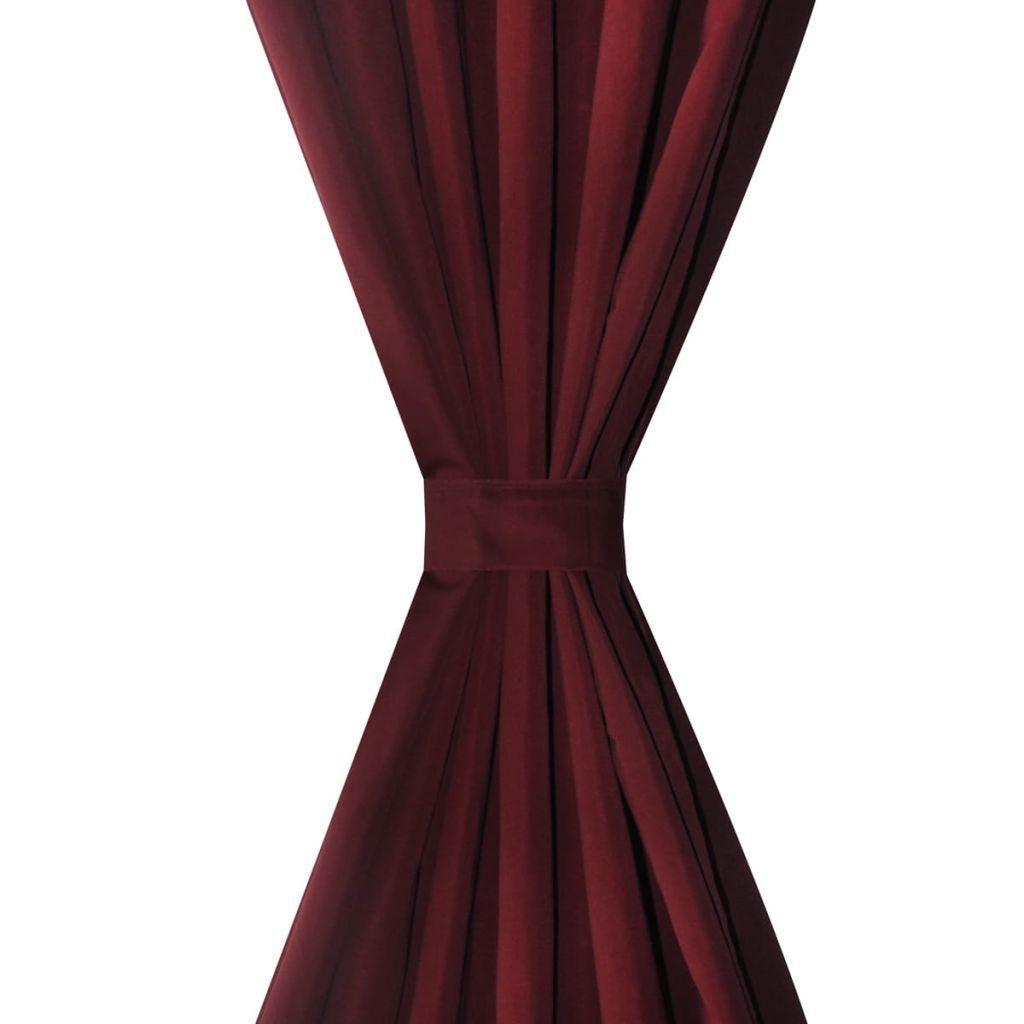 Draperie micro-satin cu bride 140 x 225 cm, bordo, 2 buc