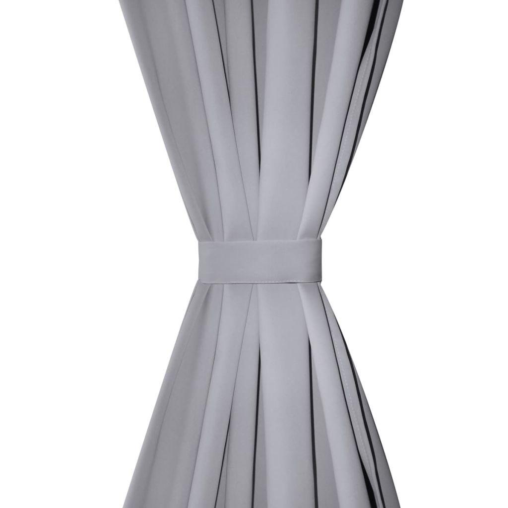 2 Perdele opace gri cu rejansă 135 x 245 cm