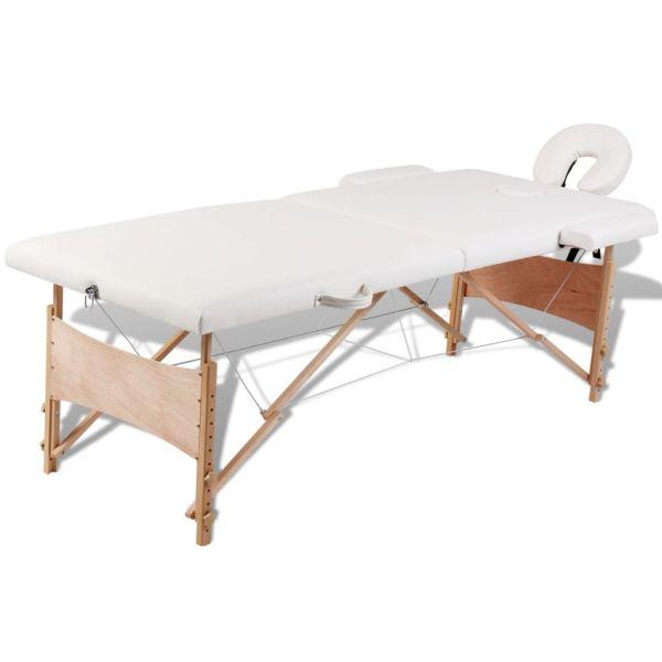 Masă de masaj pliabilă 2 părți cadru din lemn Alb-Crem