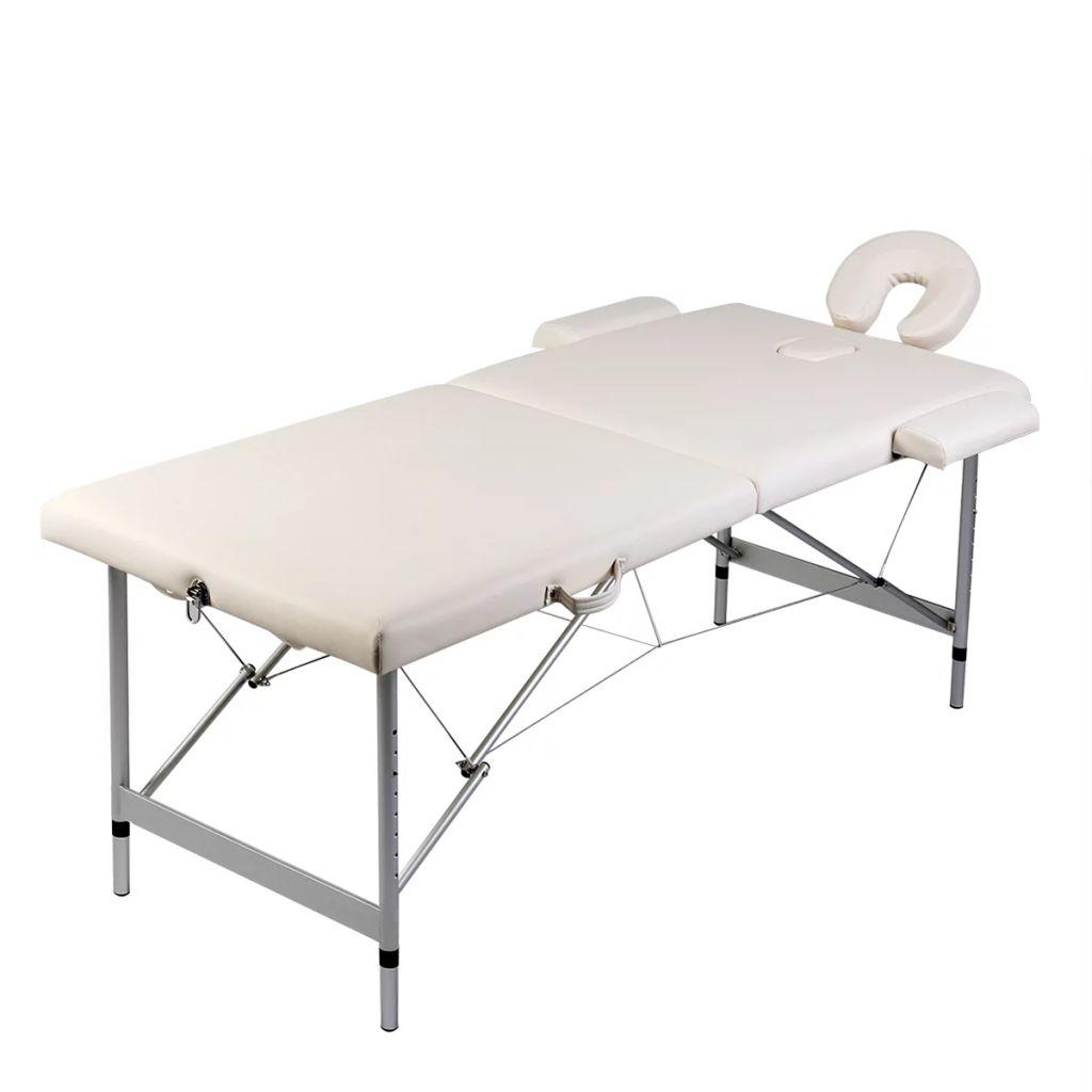 vidaXL Masă masaj pliabilă, 2 zone, alb crem, cadru aluminiu