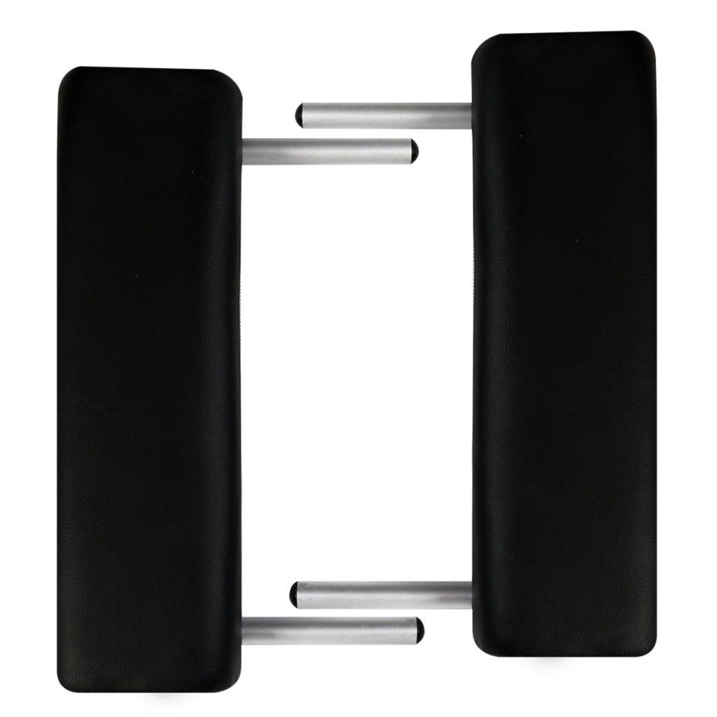 Masă masaj pliabilă, 2 zone, negru, cadru aluminiu