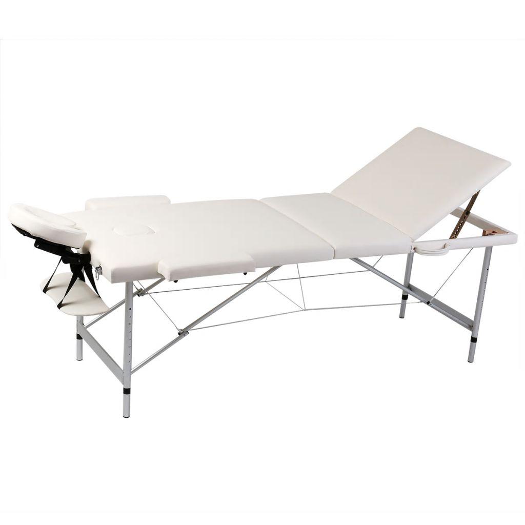 Masă de masaj pliabilă 3 părți cadru din aluminiu Crem