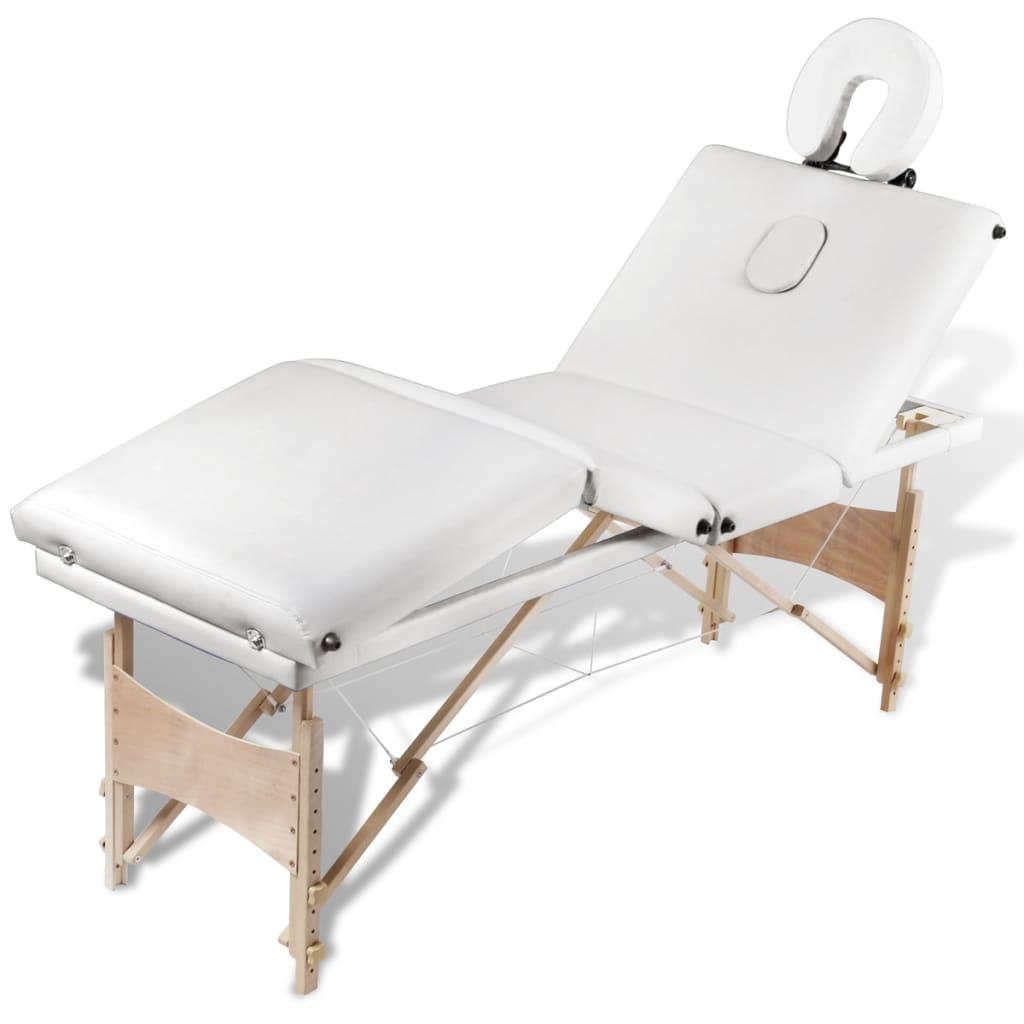 Masă de masaj pliabilă 4 părți cadru din lemn Crem