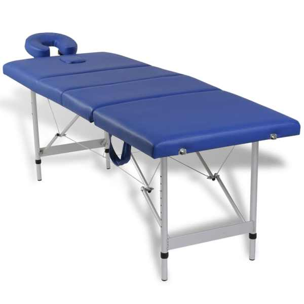 Masă de masaj pliabilă 4 părți cadru din aluminiu Albastru