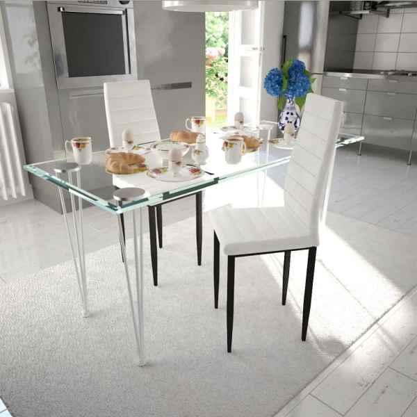 vidaXL Scaune de bucătărie, 2 buc., alb, piele ecologică