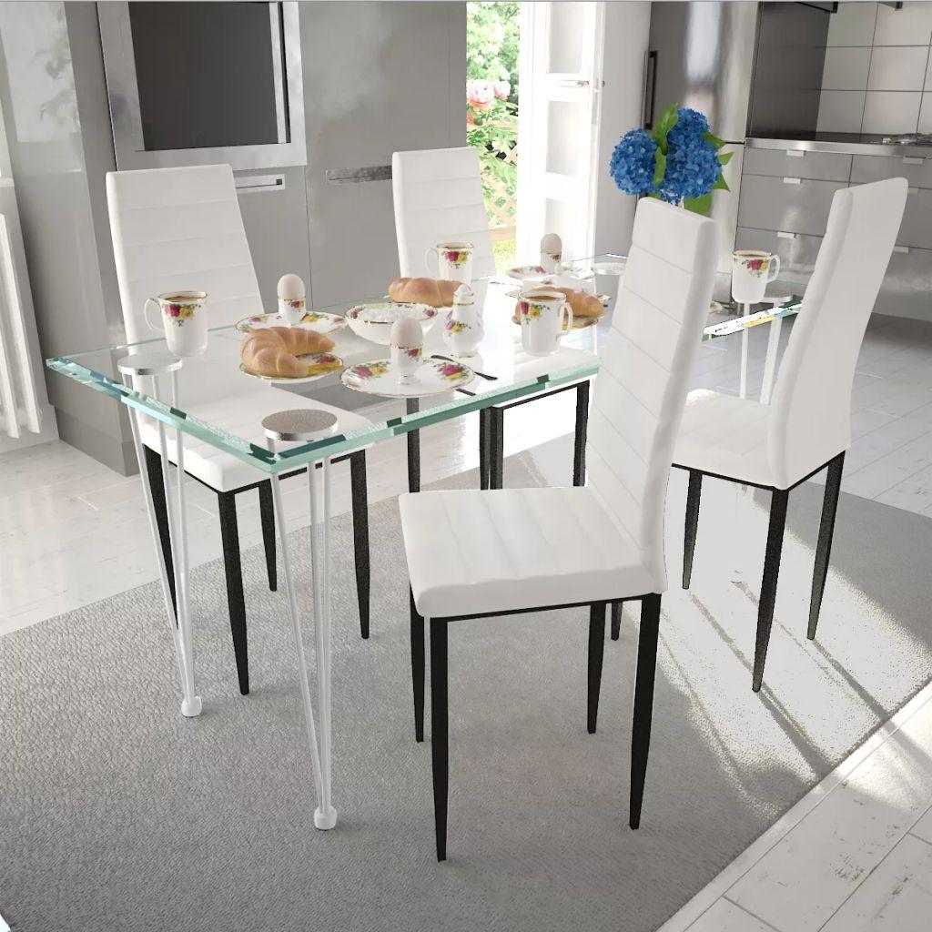 vidaXL Scaune de bucătărie, 4 buc., alb, piele ecologică