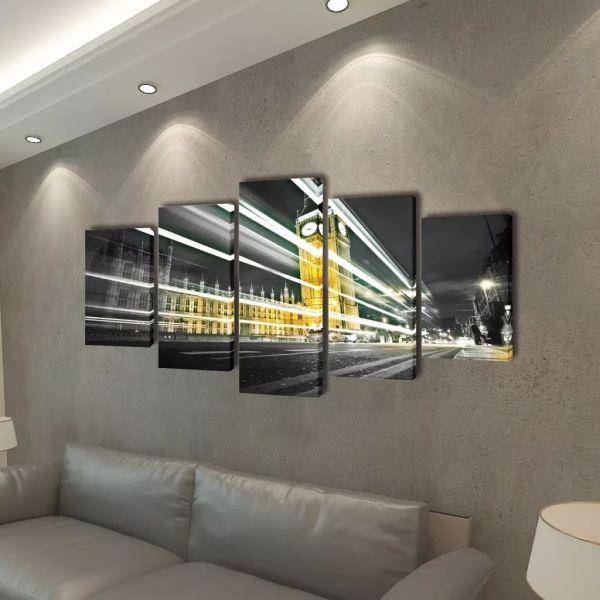 Set tablouri pânză, imprimeu Londra Big Ben 100 x 50 cm