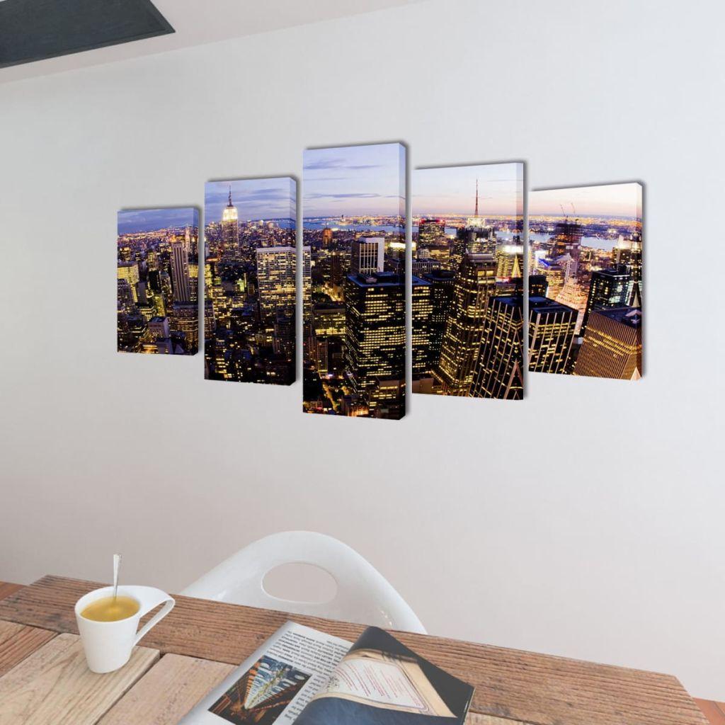 Set tablouri pânză cu vedere panoramică orizont New York, 100 x 50 cm