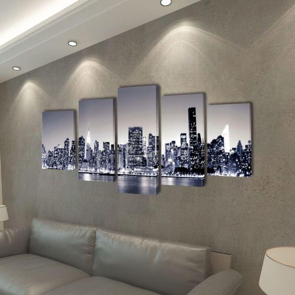 Set tablouri de pânză imprimate, cu panorama New York 200 x 100 cm