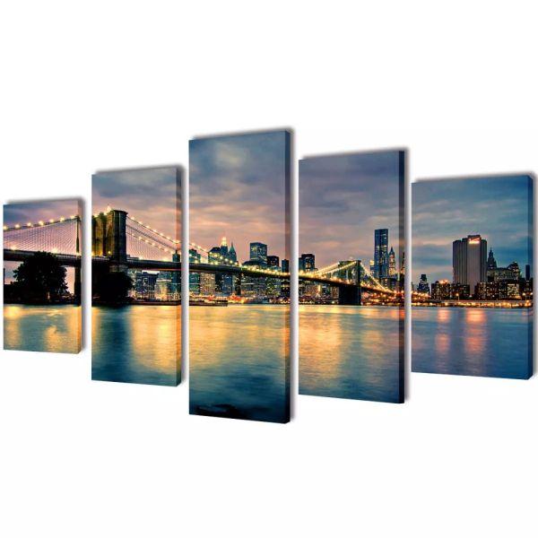 Set tablouri perete din pânză, podul Brooklyn, vedere râu, 200×100 cm