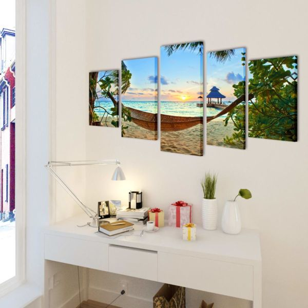 Set tablouri din pânză cu imprimeu plajă cu nisip și hamac, 100 x 50 cm