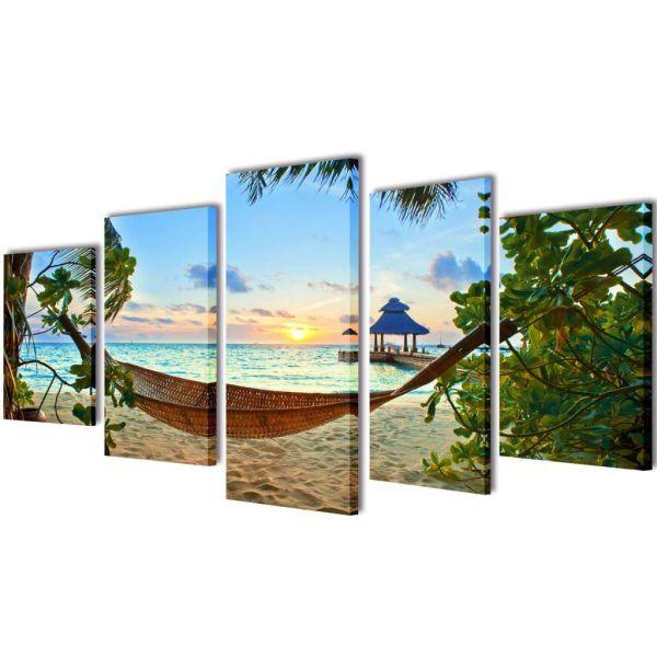 Set tablouri de perete cu imprimeu plajă cu nisip și hamac, 200x100cm