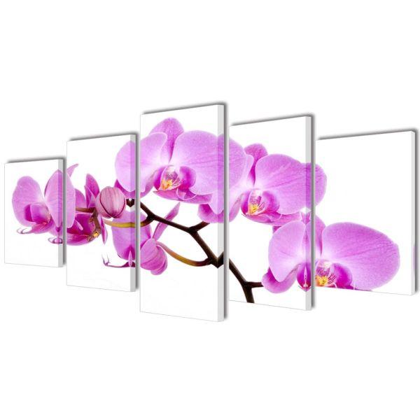 Set tablouri imprimate pe pânză orhidee 100 x 50 cm