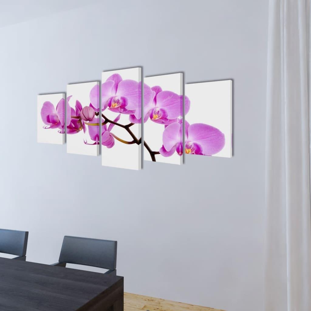 Set tablouri de perete cu imprimeu orhidee, 200 x 100 cm