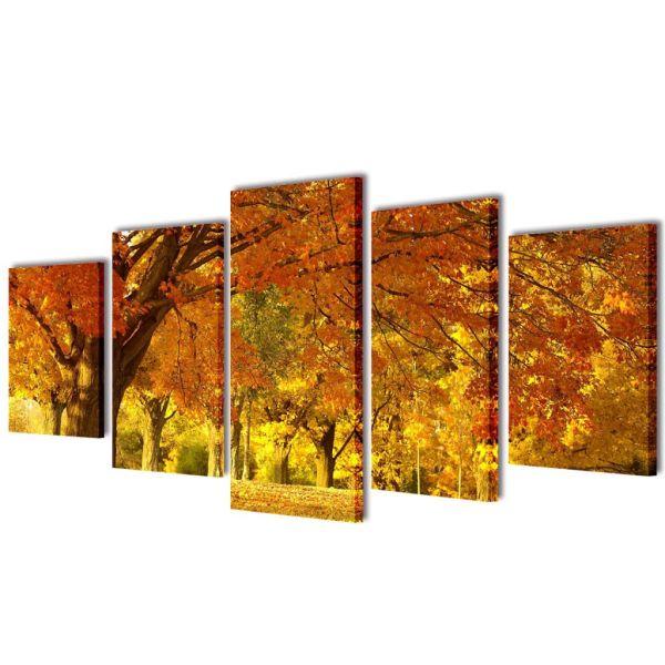 Set tablouri de perete cu imprimeu arțar, 200 x 100 cm