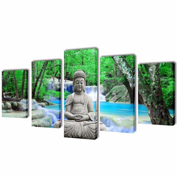Set tablouri de pânză imprimate Buddha, 100 x 50 cm