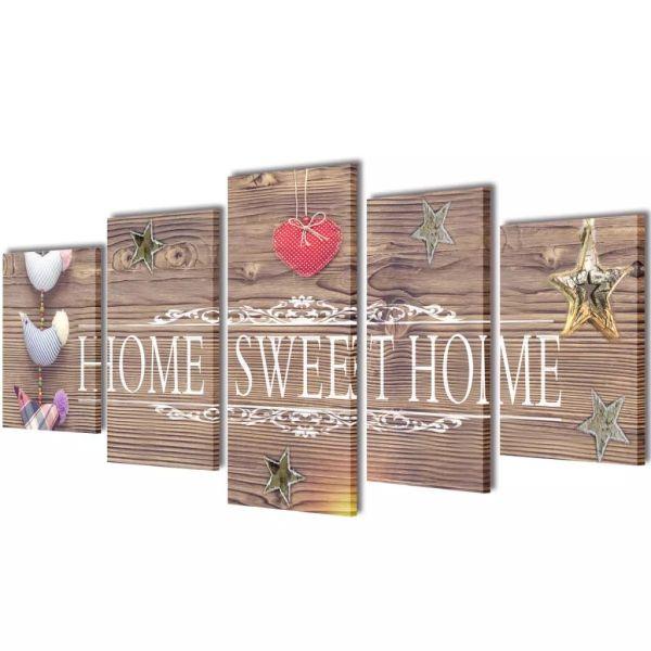 Set tablouri de pânză imprimate cu home sweet home, 100 x 50 cm