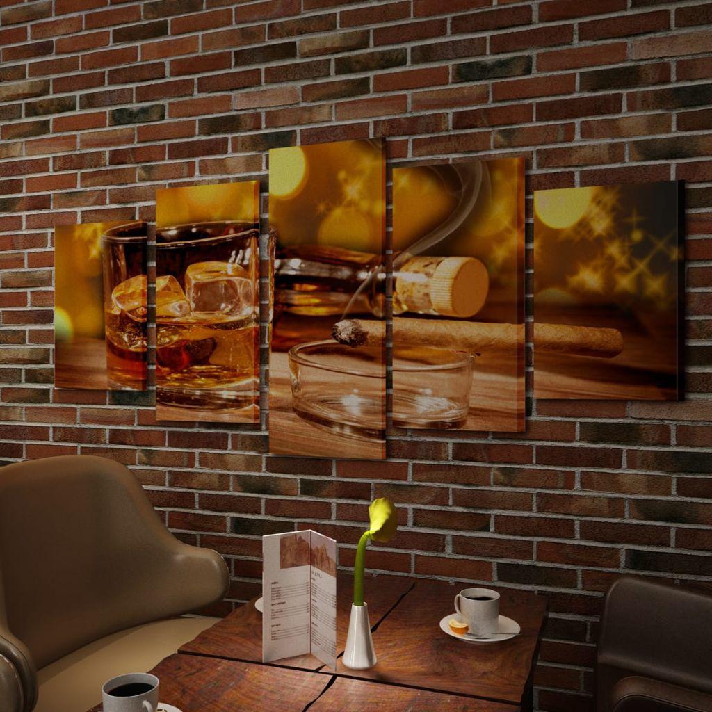 Set tablouri de perete cu imprimeu Whiskey și Trabuc, 200 x 100 cm