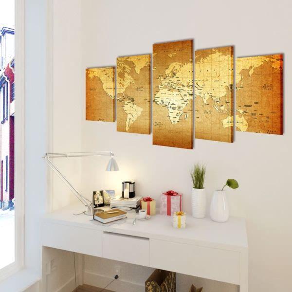 Set tablouri de pânză imprimate cu harta lumii 200 x 100 cm