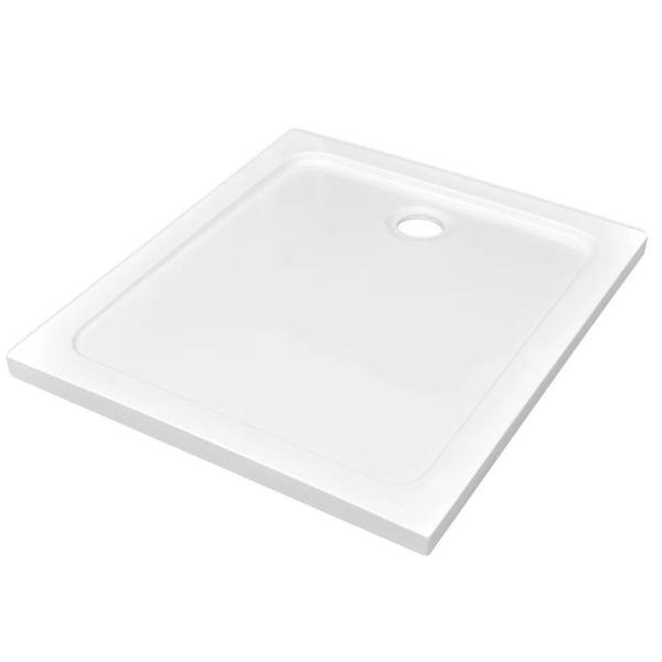 vidaXL Cădiță de duș dreptunghiulară din ABS, alb, 80 x 90 cm