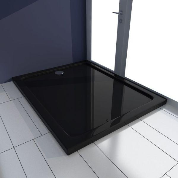 vidaXL Cădiță de duș dreptunghiulară din ABS, negru, 80 x 100 cm