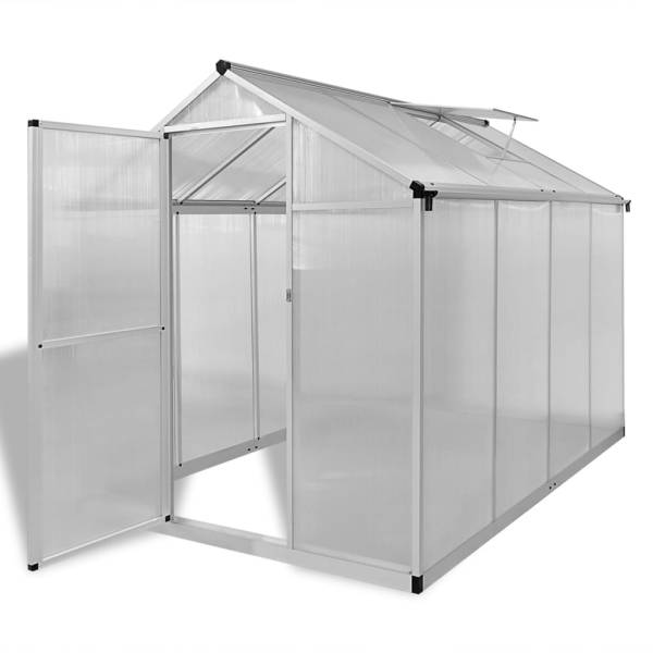 vidaXL Seră din aluminiu ranforsat cu cadru la bază, 4,6 m²