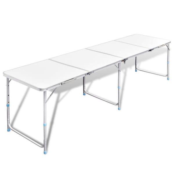 Masă camping din aluminiu reglabilă 240 x 60 cm
