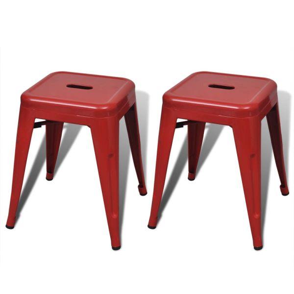 vidaXL Taburete stivuibile, 2 buc., roșu, metal