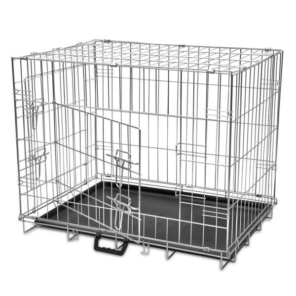 vidaXL Cușcă pentru câini pliabilă, metal, M